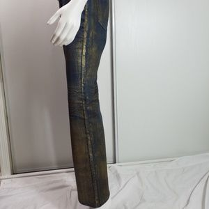 Cache Jeans - Cache Gold Finish Flare Leg Size 6 Jeans 2448